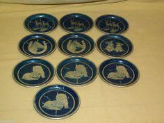 Aluminum Coasters Set 10 Blue Litho Deer Doe Horse Horseshoe Cat Dog Scotty Bar