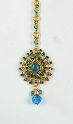 Peacock Green Belly Dance Costume Jewelry Gold Plated Maang Tikka FS EHS