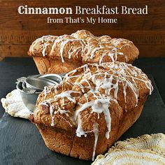 Cinnamon Breakfast Bread is a sweet yeast dough full of cinnamon and topped with a brown sugar crumble topping, baked in a loaf pan. Makes great toast the next day if it lasts that long. #cinnamonbreakfastbread #yeastbreads