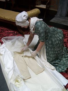 After it has been on display the costume has to be properly packed away, even if you're still in elaborate replica costume yourself!