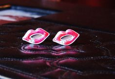 Lip Cufflinks  Romantic Pink Kisses Kissing Cuff by CleopatraNYC, $47.00