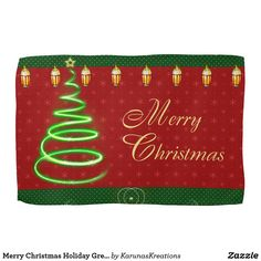 Merry Christmas Holiday Greetings Kitchen Towel