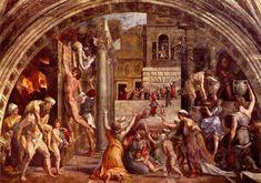 Raphael Sanzio (Italian: Raffaello) (1483 - 1520) The Fire in the Borgo Fresco, 1514 ? cm × 670 cm (?? × 260 in) Apostolic Palace, Vatican City, Rome, Italy