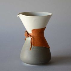 Handmade Ceramic Coffee Pour Over single cup brewer ceramic clay pottery drip pitcher lid pot