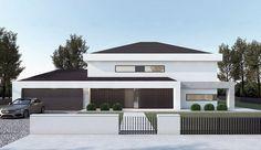 Projekt domu piętrowego FX-31 o pow. 257,31 m2 z obszernym garażem, z dachem kopertowym, z tarasem, z antresolą, sprawdź! Exterior Design, Interior And Exterior, Modern Family House, Bedroom Bed Design, Architect House, My House, Building A House, House Plans, Villa