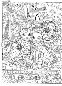 Creative cats - Adult Coloring book pages - gatos