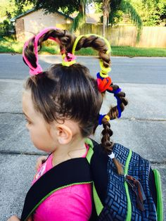 We& gathered our favorite ideas for Wacky Hair 4 Braids Tied At Top And Bottom Then Strung, Explore our list of popular images of Wacky Hair 4 Braids Tied At Top And Bottom Then Strung. Crazy Hair Day Boy, Crazy Hair For Kids, Crazy Hair Day At School, School Week, Little Girl Hairstyles, Cool Hairstyles, Toddler Hairstyles, Whoville Hair, Wacky Hair Days
