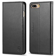 cool iPhone 7 Plus Case, SHIELDON® Genuine Leather Case, Flip Folio Book Case, Wallet Cover with Stand Function, Card Slots & ID Holder and Magnetic Closure for iPhone 7 Plus, Black