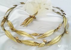 Ancient Greek style wedding stefana crowns with olive leaves Bridal Tiara, Bridal Headpieces, Gold Leaf Crown, Groom Buttonholes, Grecian Wedding, My Perfect Wedding, Prom Dresses Long With Sleeves, Greece Wedding, Wedding Crowns