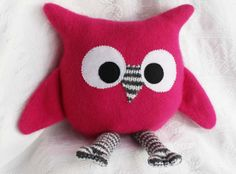 handmade owl from upcycled pink sweaters pink by miraclemittens, $32.00