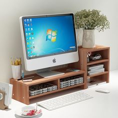 DL furniture - Monitor Stand 2 Compartment Organizer Come With Portable Tall Side Stand , Natural, Beige Home Office Design, Home Office Decor, Office Furniture, Furniture Dolly, Living Furniture, White Furniture, Office Chairs, Office Ideas, Furniture Design