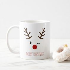 Winking Rudolf Reindeer Christmas Coffee Coffee Mug - Christmas Eve Adorable winking Rudolf the Reindeer Christmas mug. Our Christmas mugs make a great gift! Diy Christmas Mugs, Christmas Coffee, Christmas Quotes, Christmas Humor, Handmade Christmas, Christmas Decorations, Reindeer Christmas, Christmas Ornaments, Homemade Decorations