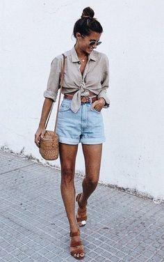 High-waist denim shorts, front tie button down shirt, sandals and straw bag
