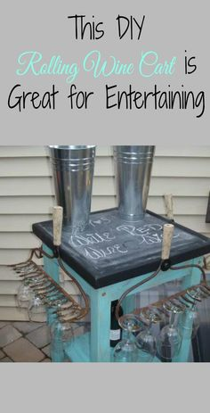 Fun rolling wine cart made with vintage rakes & an old butcher block table