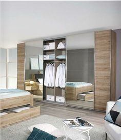Hide your wardrobe away behind stunning sliding doors! Hettich have the ideal sliding door system to suit your interior design! Click the pin for more information. #wardrobedesign #wardrobedoors