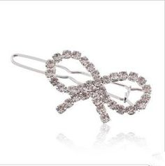 Smile gentle sparkling full rhinestone bow side-knotted clip >>> Check out the image by visiting the link.