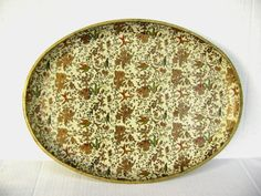 Vintage Tray Oval Gold Floral and Vines Tropical by junquegypsy, $14.20