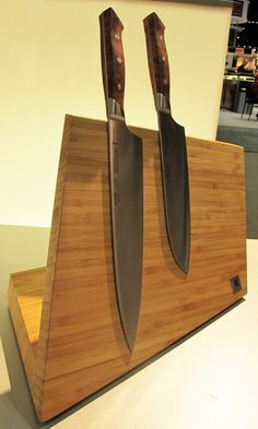 Angled Wooden Magnetic Knife Block by J.A. Henckels.