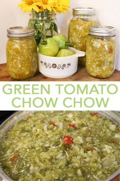 Green Tomato Chow Chow Recipe Get this recipe for green tomato chow chow to use up all of those things you have left in your garden after the season is over! Canning Green Tomatoes, Pickled Green Tomatoes, Canning Vegetables, Veggies, Chow Chow Canning Recipe, Green Tomato Chow Chow Recipe, Easy Chow Chow Recipe, Southern Chow Chow Recipe, Sauces