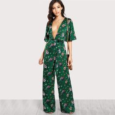 Hot Price SHEIN Sexy Jumpsuits for Women Bell Sleeve Plunge Neck Self Belted Palazzo Jumpsuit Multicolor Half Sleeve Floral Jumpsuit Palazzo Jumpsuit, Floral Jumpsuit, Jumpsuit Style, Online Fashion, Mono Floral, Nightwear Online, Jumpsuit With Sleeves, Halter Jumpsuit, Pant Jumpsuit