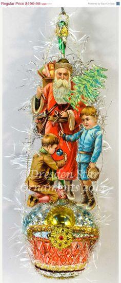 25 OFF SALE Santa with Children on Deluxe by DresdenStarOrnaments, $149.96