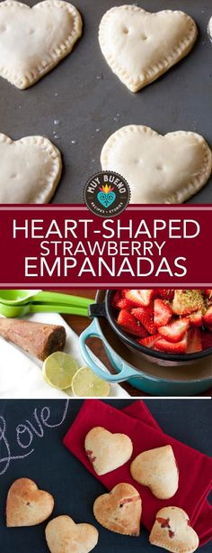 These clever heart-shaped empanadas are filled with strawberries slowly simmered in piloncillo. The preserves are sweet but not overly sweet making these flaky baked empanadas delicious and comforting. Mexican Food Recipes, Sweet Recipes, Dessert Recipes, Desserts, Baked Empanadas, Tapas, Cupcakes, Healthy Meals For Kids, Special Recipes