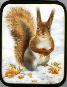 """Fedoskino. Russian Lacquer Art Titled """"Squirrel"""" Artist Il'na"""