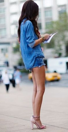 This is one of the more revealing denim outfits for hot days. #denim #denimshorts #denimtop