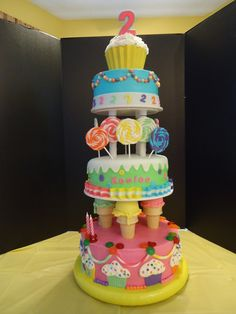 This cake is straight from the Wilton yearbook. My DIL saw it and wanted it for my granddaughters b-day. My first time using a dummy cake (bottom tier) Cake is chocolate with buttercream icing. Candy melt cupcake shell. All decorations are fondant except for the gummy lifesavers. The hardest part was finding ice cream cones big enough to fit over the plastic pillars.