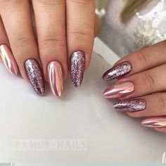 18 Beautiful Winter Nail Colors ★ Glitter Nails for Bright Look on Christmas Picture 1 ★ See more: http://glaminati.com/winter-nail-colors/ #winternailcolors #winternails #GlitterNails
