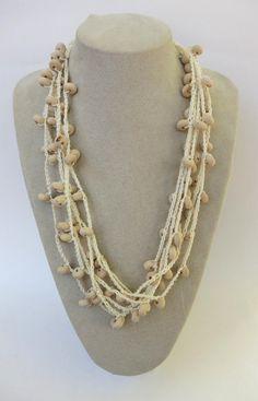 Cream Raw Wood Crochet Cotton Necklace by topshelfjewellery