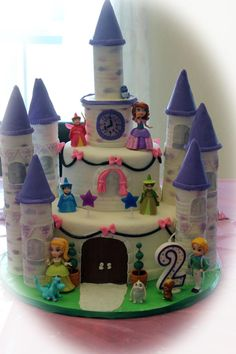 A not so traditional purple Sophia the first cake.This was my first castle cake. Princess Sofia Birthday, Sofia The First Birthday Party, 4th Birthday Cakes, Second Birthday Ideas, Sofia Party, 4th Birthday Parties, Birthday Fun, Sofia The First Cake, Sofia Cake