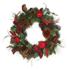 "Good Tidings Pine Christmas Wreath with Cones Apple Berries Twig Ribbon. GTD1478 Features: Wreath pine Beautiful pine wreath with pine cones, apples, berry clusters and holiday ribbons Bring holiday charm and style to home this season Construction: Constructed of PVC Color/Finish: Deep green pine color Dimensions: Overall dimensions: 24"" H x 5"" W x 24"" D. Price: $39.99"