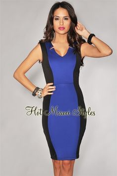 Royal Blue Color Block Knee Length Dress 39 99