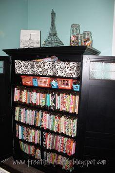 organize fabric with peg board/cardboard/left over scrap wood/etc.