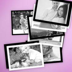 Fotos mini rectangulares en blanco y negro. Puedes elegir entre borde blanco o negro. Puro estilo retro / vintage.
