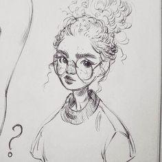 Miss Fluffy Bun  * * * #art #drawing #sketch #sketchbook #sketchy #blackandwhite #monochrome #ink #inkdrawing #pen #ballpointpen #portrait