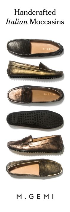 Moccasins so comfortable you can wear them for days at a time. Shop 'The Campo' moccasin in gold, gunmetal and rose.