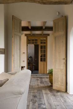 I really like the doors and floors. Doors And Floors, Windows And Doors, Wood Doors, Rustic Contemporary, Contemporary Interior, Rustic Interiors, Style At Home, My Dream Home, French Doors