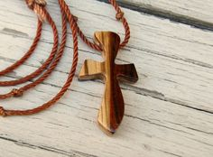 Wooden Cross Necklace  Kingwood & Zebrawood by TheLotusShop on Etsy, $16.95