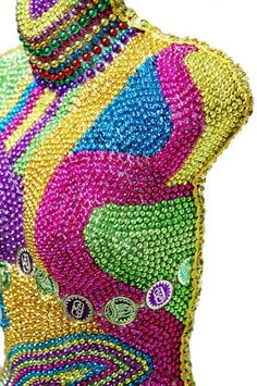What to do with all those leftover beads? Close-Up #2 - Created by Jennifer Stewart @Toomey's Mardi Gras & Party Supplies http://www.toomeys-mardigras.com/