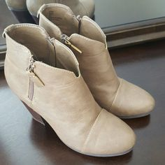 Ankle Booties Taupe ankle booties, only worn twice. Perfect condition! Rampage Shoes Ankle Boots & Booties
