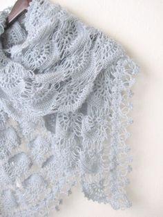 Crochet Hand Silver Glitter GREY Shawl..