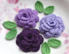 3 uncinetto fiori (Rose) con foglie YH - 142-02