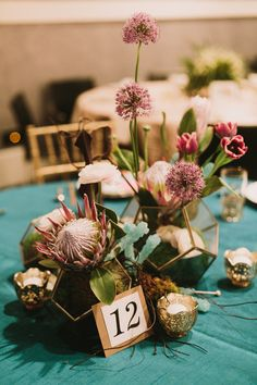 A todo Confetti is under construction Reception Table Decorations, Wedding Table Centerpieces, Wedding Decorations, Wedding Ideas, Wedding Tables, Protea Wedding, Floral Wedding, Wedding Flowers, Protea Centerpiece