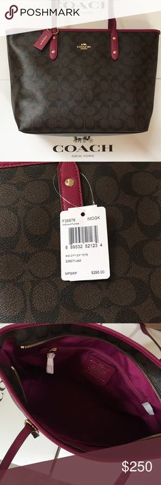 """🎉LABOR DAY SALE🎉 ✨COACH ✨signature city zip tote 💯% AUTHENTIC COACH signature city zip tote.  Dark brown with signature C pattern, fuchsia handles, trim, and interior lining.  Inside zip, cell phone and multifunction pockets.  Did not come with a dust bag.  Measures 11 3/4"""" L (bottom) 16"""" L (top) x 10 1/2"""" H x 5 1/2"""" D.  Brand new with tags - gorgeous bag💃🏻👜! Coach Bags Totes"""