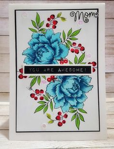 Crafters Corner : Getting to know your Mini MISTI Video & Using Mutli Layered Stamps with Misti Video - card using Altenew Peony Bouquet & Label Love