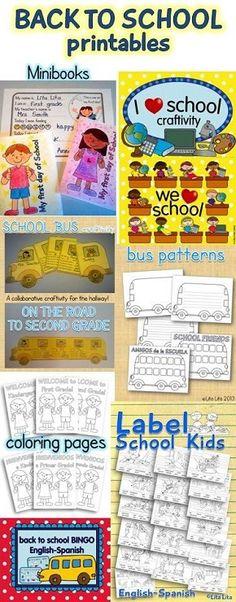 Back to school printables. Craftivities, bingo, label centers, minibooks...