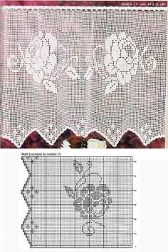 Crochet Borders, Filet Crochet, Crochet Patterns, Home Crafts, Diy And Crafts, Lace Curtains, Stitch, Knitting, Floral