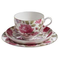 Royal Old England | Gedeck | Teller und Tasse mit Untertasse | Teerose | Geschenkbox | MAXWELL & WILLIAMS
